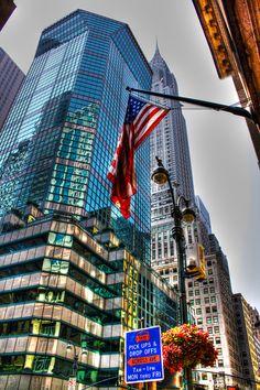NYC. Manhattan. Glass tower & Chrysler
