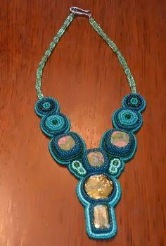 #beadwork, #beadembroideredjewelry, #beadedjewelry, #beadednecklace