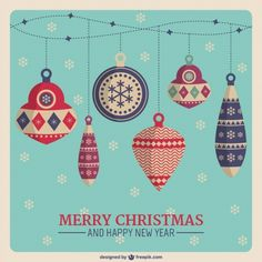 Carte de Noël avec des boules d'époque