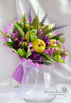A wonderful present for your beloved!  Handmade flowers with candies in each flower. The bouquet is made of floristic materials.Only best and the most delicious candies.