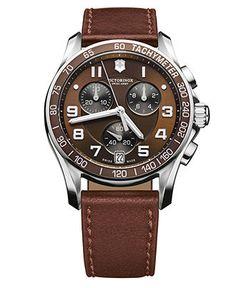 Victorinox Swiss Army Watch, Men's Chronograph Brown Leather Strap 241498 - Victorinox Swiss Army - Jewelry & Watches - Macy's