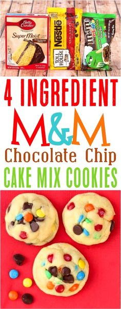 This Easy M&M Cookies Recipe is the best!  This cake mix treat takes just 4 ingredients and is perfect for the dessert table!