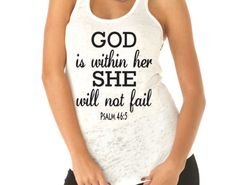 God Is Within Her She Will Not Fail Psalm 46. Running Tank Top. Workout Tank. Inspiration. Christian Clothing. Fitness Shirt.