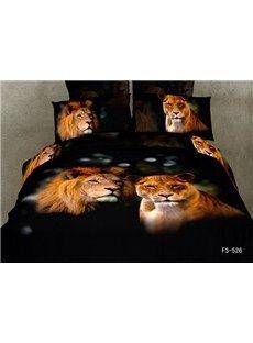 A couple of lions Print Black Color 4 Piece Bedding Sets/Duvet Cover