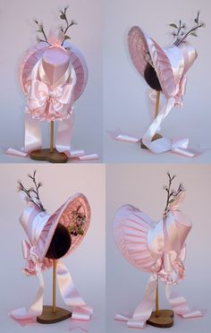 Romantic Period Bonnet: sunbonnets had a very prominent bill to shade your face and a bavolet on the back to keep the sun off of the neck. Victorian Hats, Victorian Fashion, Bonnet Pattern, Romantic Period, Natural Clothing, Millinery Hats, Fancy Hats, Historical Clothing, Fabric Covered