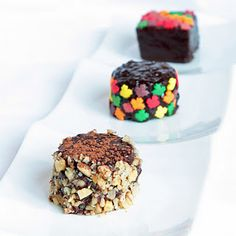 "Super cute, no bake, ""cheater's"" petit fours....I won't tell if you don't!  ;)"