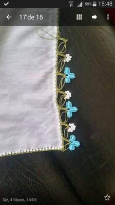 This Pin was discovered by HUZ Crochet Borders, Hand Embroidery, Tatting, Diy And Crafts, Kare Kare, Lace, Felt, Crafts, Crochet Edgings