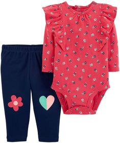 570fcca69 Baby Girl Carter's Ruffled Floral Bodysuit & Patched Knee Leggings Set