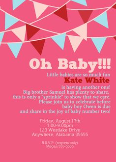This is it in Blue....  Banner/Bunting Baby Sprinkle Invitation Baby by sullivandigidesigns, $12.00