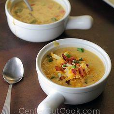 Cheesy Corn Chowder (in a crockpot??)   http://centercutcook.com/cheesy-corn-chowder/