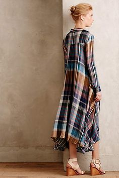 Mixed Plaid Shirtdress - anthropologie.com