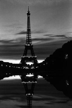 BW France Paris Eiffel tower reflection 1970