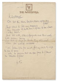"Robert Plant.  Handwritten manuscript of ""Kashmir"" via Southeby's, 2016.  Page 1 of 2."