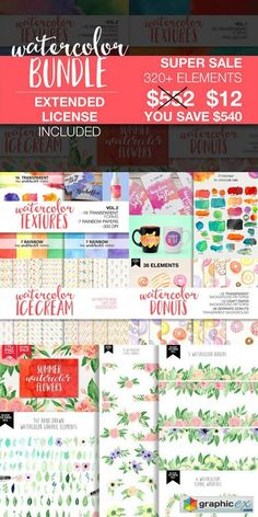 Watercolor Bundle 867824  stock images