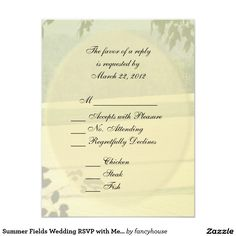 Summer Fields Wedding RSVP with Menu Card