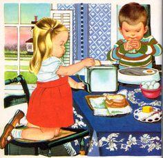 """We Help Mommy, Illustrations by Eloise Wilkin, 1959 (1972 Reissue)- Breakfast    from """"We Help Mommy"""", Little Golden Book, 1959 (1972  edition)by Jean CushmanIllustrations by Eloise Wilkin"""
