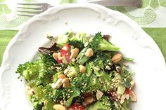 This broccoli salad, with its rice and nuts, is a complete meal and one I serve regularly for dinner and make enough to pack for lunch the next day too. I quite often add other blanched veges, such as beans and asparagus. Keep your broccoli tender but crisp and once it melds with the dressing, herbs and nuts even those who proclaim to hate broccoli are surprised at how good it tastes.