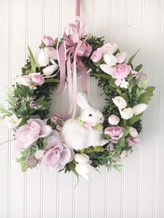 Spring front door wreath – floral Easter bunny wreath – Nursery wall decor – Bunny Spring decor girls room - Decoration For Home Boxwood Wreath, Diy Wreath, Spring Front Door Wreaths, Spring Wreaths, Spring Door, Flower Nursery, Nursery Wall Decor, Nursery Room, Girl Nursery