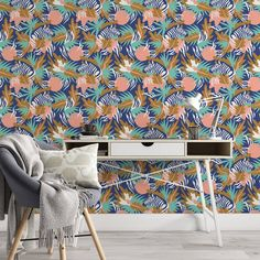 Zebra Removable Wallpaper, Animal Illustration Art Wall Cling, Kids Home Decor, Jungle Pattern Wall Decal, Tropical peel and stick - Canvas Wall Decal / 1 roll: 24W x 108H
