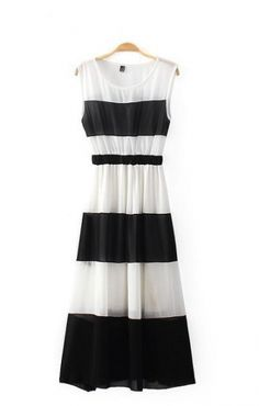 Love Black and White! Black and White  Color Blocked Pleated Sleeveless Chiffon Dress