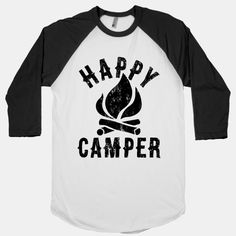 "This cute vintage-inspired camping shirt features a crackling camp fire and the words ""happy camper"" and is perfect for exploring the great outdoors, climbing trees, visiting national parks,. Camp Shirts, T Shirts, Camping Outfits, Camping Clothing, Camping Theme, Camping Hacks, Camping Gear, Diy Camping, Backpacking"