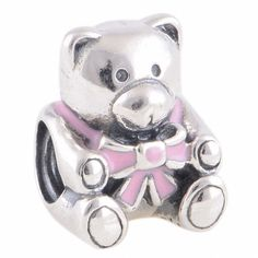 LW239 Antique Enamel Solid Sterling 925 Silver Genuine Charm Bead [It's A Girl] Fit European Bracelet,Animal Bead,Bear by TaoTaoHas on Etsy