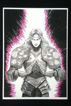 Neon Knight High-quality digital art print of original drawing. Printed on 220 g/m² matte fine art paper. Neon Artwork, Cyberpunk Art, Fantasy Illustration, Marker Art, Ink Art, Traditional Art, Knights, Fine Art Paper, Fantasy Art