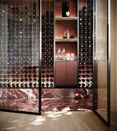 Wine Cellar - ANGLE's Latest Project Fenwick with Edition Office & Flack Studio. Wine Rack Design, Wine Cellar Design, Wine Cellar Modern, Flack Studio, Decoration Restaurant, Home Wine Cellars, Wine House, Wine Display, Wine Wall