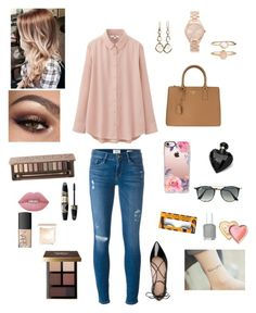 """""""Monday"""" by brodybateman ❤ liked on Polyvore featuring Uniqlo, Frame Denim, Michael Kors, Ippolita, Kate Spade, Prada, Urban Decay, Lime Crime, Accessorize and Casetify"""