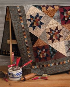 At Home with Country Quilts 11  love the sawtooth stars with 16 patch centers and hourglass blocks alternating
