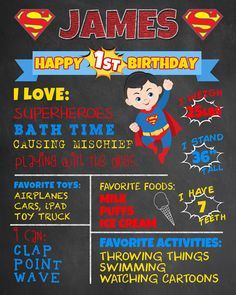 First Birthday Chalkboard Superman Superhero Poster. Boy 1st Birthday Chalk Board Custom Printable. Milestone Sign. Superheroes Party Decor