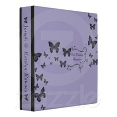 Purple Butterflies Wedding Memories Album Vinyl Binder