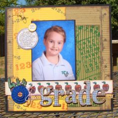 4th grade school layout... tami sanders,clearsnap,stamped layout,scrapbook page,school layout,12 X 12 layout