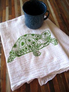 Tea Towel - Screen Printed Organic Cotton Flour Sack Towel  - Eco Friendly Kitchen Towel - Soft and Absorbent - Turtle Illustration. $10.00, via Etsy.
