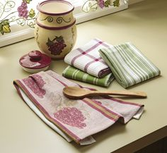 Grape Cotton Kitchen Dish Towels