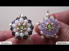 ▶ Beaded earrings: earrings made using beads, donuts, crystal and a handmade hook that can be closed - YouTube