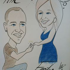 Proposal idea: my fiancé had this done by a caricature artist at an annual festival. Fun, creative way to get engaged! He takes all the credit! Ways To Propose, Caricature Artist, Proposal Ideas, Getting Engaged, Marry Me, Awesome, Amazing, Dream Wedding, Wedding Ideas
