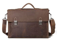 Superior Genuine Cow Leather Briefcase / Messenger / Laptop / Men's Bag in Brown (L10) on Etsy, $124.99