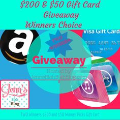 2 Winners - Win $200 and $$50 Gift Cards Your Choice! Open Worldwide