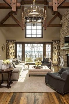 Ben Moore Grant Beige with stained trim Living Tv, Living Room Modern, Living Room Decor, Kitchen Living, Kitchen Decor, Stained Wood Trim, Dark Wood Trim, Paint Colors For Living Room, Room Colors