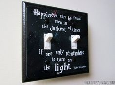 DOUBLE SWITCHPLATE   Quote Light Switch Plate  by DeeplyDapper, $12.00   Fine Geek Gifts and home decor on our shop's Etsy page - www.etsy.com/shop/deeplydapper   Also find us on www.deeplydapper.com and www.etsy.com/shop/dappersoaps