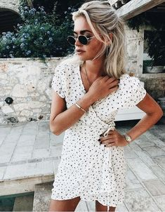 white wrap dress, sunglasses