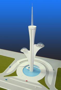 Maquete da Torre de Transmissão Digital de Brasília-DF-Brasil - Projeto: Arquiteto Oscar Niemeyer - Maquete e Foto: Gilberto Antunes