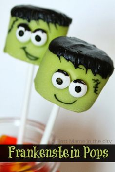 Frankenstein Marshmallow Pops. Fun and easy #recipe! Perfect for #halloween