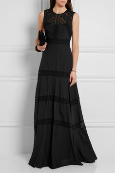 Needle & Thread Lace Paneled Chiffon Gown