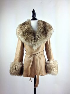 Almost Famous Tan Leather Huge Shearling Lamb Collar and Cuffs Coat by FeelingVagueVintage, $98.00