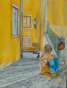 À espera...num beco em Lisboa. Telas/óleo