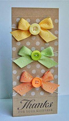 Peaceful Lane: Buttons and Bows Ribbon Cards, Paper Cards, Cool Cards, Diy Cards, Tarjetas Diy, Button Cards, Card Making Inspiration, Scrapbook Cards, Scrapbooking