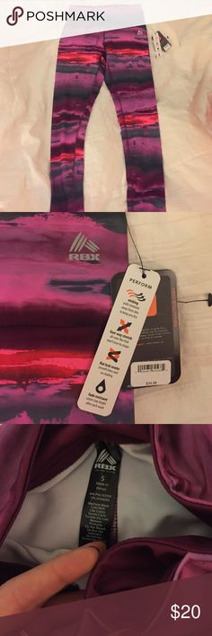 RBX Athletic Leggings Never worn, NWT!! RBX activewear ankle length pants, size small. Beautiful watercolor, sunset pattern. RBX Pants