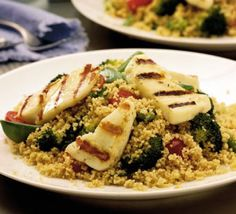 Grilled Halloumi with Spiced Couscous Light but filling, this tangy vegetarian dish takes just 20 minutes to prepare - and leftovers will do for lunch Bbc Good Food Recipes, Veggie Recipes, Cooking Recipes, Yummy Food, Veggie Food, Rice Recipes, Uk Recipes, Summer Recipes, Cooking Tips